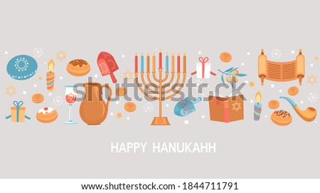 Happy Hanukkah greeting card for Jewish holiday. Template for banner, flyer with Torah, menorah candles, dreidels, donuts, oil jar, star David and place for your text. Vector illustration. Сток-фото ©