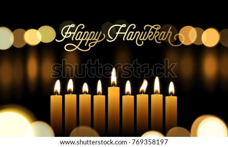 Free happy hanukkah vector download free vector art stock happy hanukkah greeting card of golden font and candles for jewish holiday design background vector m4hsunfo