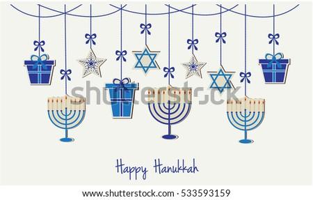 Hanukkah monorah vectors download free vector art stock graphics happy hanukkah greeting card or background vector illustration m4hsunfo