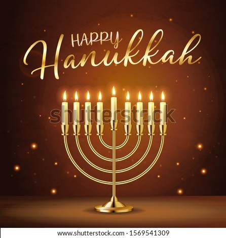 Happy Hanukkah greeting card with gold inscription and Golden realistic menorah, candlestick with burning candles, Hanukkah celebration, candelabrum, traditional Israel decoration, vector illustration Stockfoto ©