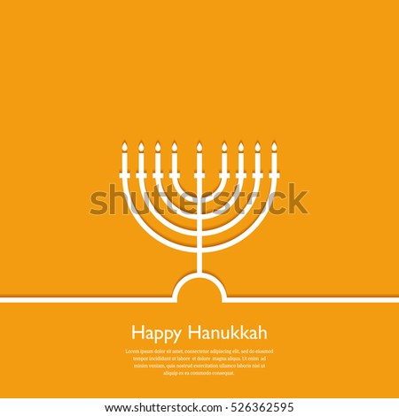 Happy Hanukkah. Holiday religion, jewish festival of Lights. Hanukkah menorah outline greeting card, template, banner. Minimal vector illustration. Flat design. Eps10