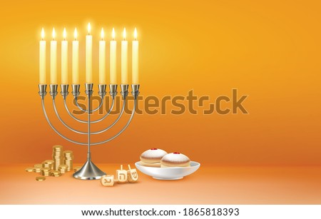Happy hanukkah jewish festival celebration greeting with menora candelabrum lights six pointed david star symbols vector illustration Stok fotoğraf ©