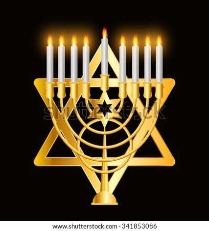 Happy Hanukkah, Jewish Holiday Background. Vector Illustration (Hanukkah - the name of the Jewish holiday) EPS10