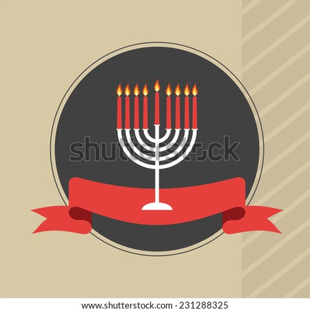 happy hanukkah, jewish holiday. Hanukkah menora with red ribbon