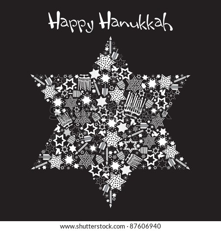 Happy Hanukkah Star of David with star made up of menorahs, dreidels and stars