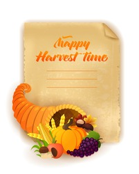 Happy Harvest time background. Vector illustration of a cartoon cornucopia with a pumpkin, corn, golden wheat, grape, mushrooms and other elements of Thanksgiving dinner. Old paper background.