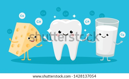 Happy Healthy Tooth and High calcium Products Cartoon characters friends together. Vector illustration in flat design. Cute Cheese and Milk infant characters. Stock photo ©