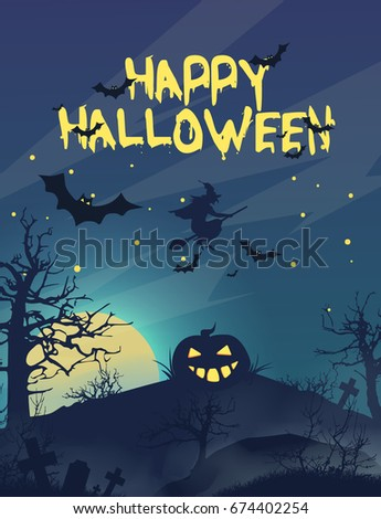Happy helloween.In the sky a witch on a broom. The Iranian landscape. Pumpkin with burning eyes