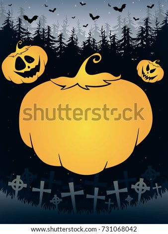 Happy Helloween poster with pumpkin, cemetery, forest and bats