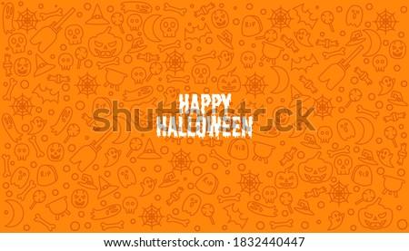 Happy helloween text on doodle element hallowen pattern vector seamless background. Stock photo ©