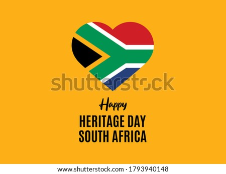Happy Heritage Day South Africa vector. Flag of South Africa in heart shape vector. Public holiday in South Africa. Important day