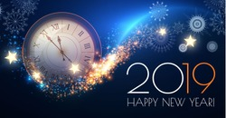 Happy Hew 2019 Year! Clock, Fileworks, Lights and Bokeh Effect. Vector illustration