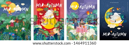 Happy сhinese mid autumn festival! Vector cute family illustrations on nature: mother, father and children with lanterns celebrating a holiday.Drawings of rabbits, moon, trees and clouds