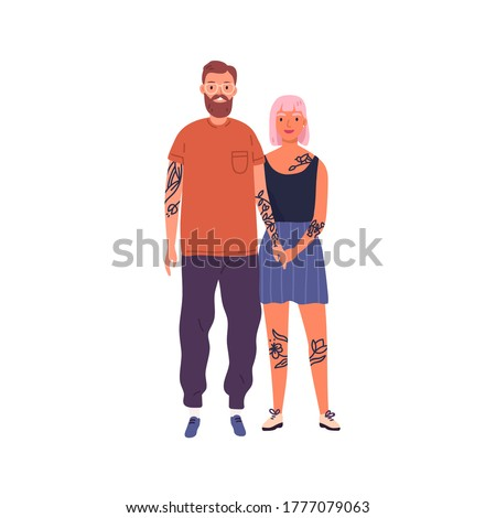 Happy hipster couple posing together holding hands vector flat illustration. Smiling stylish tattooed man and woman isolated on white. Joyful modern people standing having positive emotion