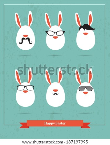 Happy Hipster Easter set of stylish BUNNY icons