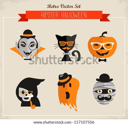 happy hipster halloween set of