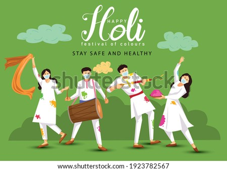 happy Holi. Cartoon Young people Playing Holi On White costume . vector illustration design. covid-19 corona virus concept