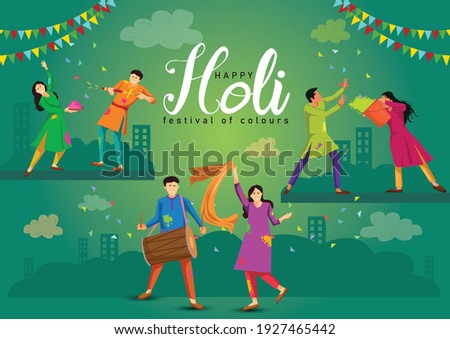 happy Holi Indian festival, poster, banner, template. Cartoon Young people Playing Holi On colorful costume . vector illustration design.
