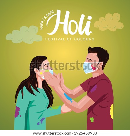 happy Holi Indian festival. Young couple Playing Holi celebration On white dress, poster, banner, wallpaper. vector illustration design. covid-19, corona virus concept