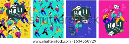Happy Holi! Indian holiday festival of colors. Vector illustration of people, dancers, musicians for a poster, banner or background.