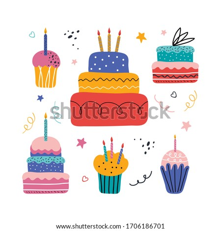 Happy holiday cream cake with candles vector set. Holiday cooking icons in a flat style for decorating, anniversaries, weddings, birthdays, children's parties. Sweet  pastries, muffin, cupcake