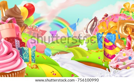 stock-vector-happy-holiday-cupcake-gift-box-sweet-landscape-d-vector-background