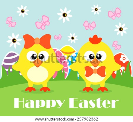 Happy Holiday Easter card , funny chickens
