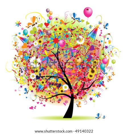 Happy holiday, funny tree with balloons - stock vector