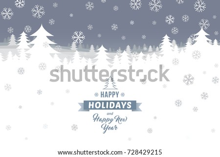 Happy holidays and Happy New Year on winter landscape with ...