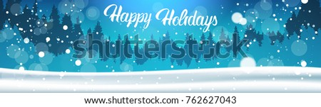 Happy Holidays Banner Background Winter Forest Landscape Night Falling Snow Pine Trees Woods Flat Vector Illustration