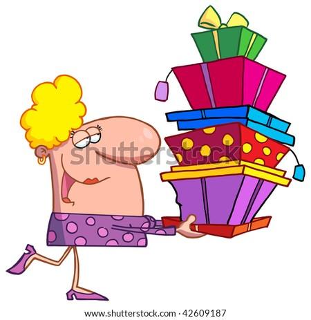 Happy holidays blond lady shopper