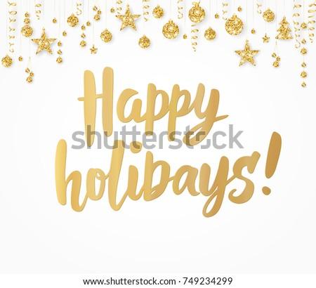 happy holidays card hand drawn
