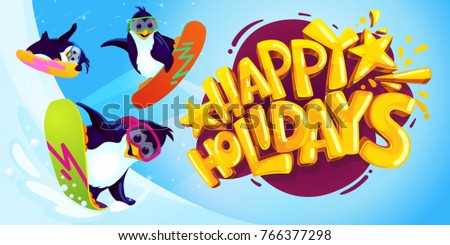 Happy holidays cartoon vector illustration. Penguins on snowboards on a blue background and logo with a yellow inscription. winter postcard