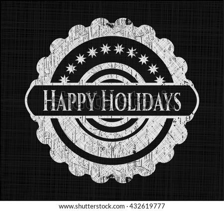 Happy Holidays chalk emblem