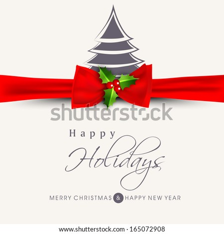 Happy Holidays concept with stylish Xmas tree and red ribbon on abstract background.