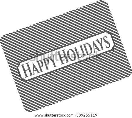 Happy Holidays draw with pencil effect