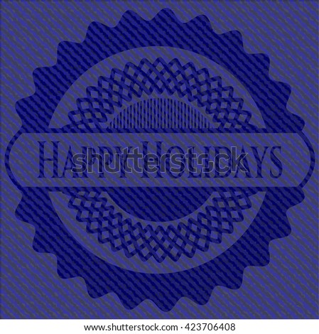 Happy Holidays emblem with jean high quality background