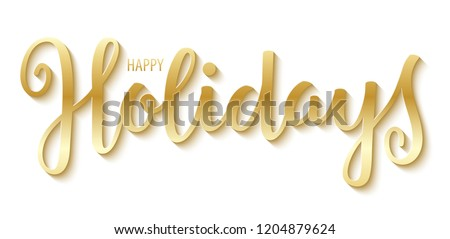 HAPPY HOLIDAYS gold brush calligraphy banner