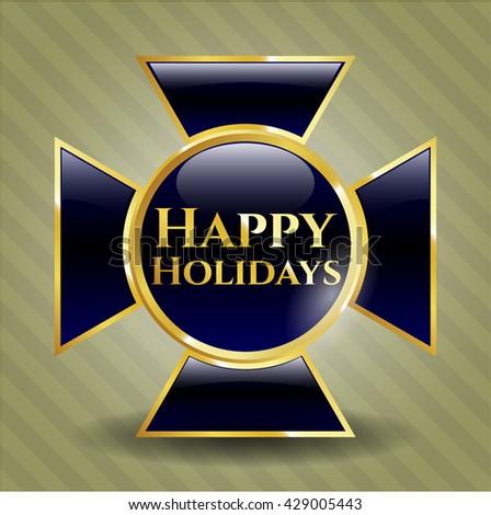 Happy Holidays golden badge