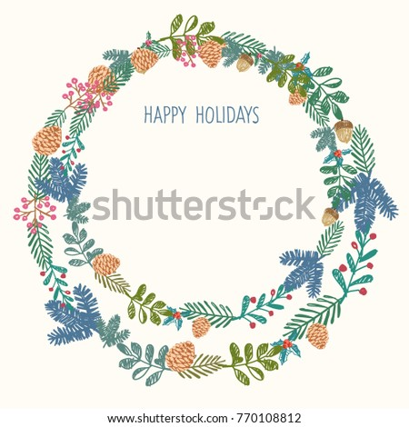 Happy holidays greeting card. Circle branch elements, merry ...