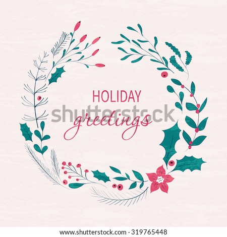 Happy holidays greeting card winter wreath with berries pine happy holidays greeting card winter wreath with berries pine branches leaves hand m4hsunfo