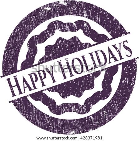 Happy Holidays grunge stamp