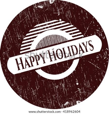 Happy Holidays grunge style stamp