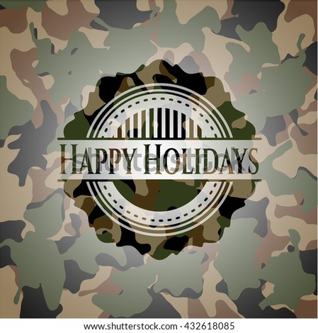 Happy Holidays on camouflage texture
