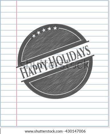 Happy Holidays pencil draw