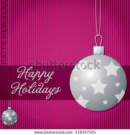 Happy Holidays star bauble card in vector format.