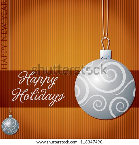 Happy Holidays swirl bauble card in vector format.