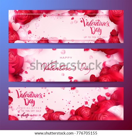 Happy holidays: Valentines day 14 february, Mothers or Womens day 8 march background with roses, red flowers. 3d Vector illustration, paper art. Romantic Wallpaper, wedding design for flyers, banners.