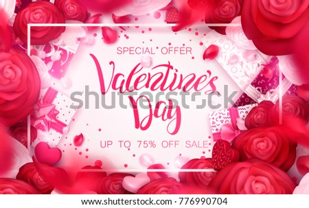 Happy holidays: Valentines day 14 february, Mothers or Womens day 8 march background with roses, gifts and hearts. 3d Vector illustration. Romantic Wallpaper, wedding design for flyers, banners.