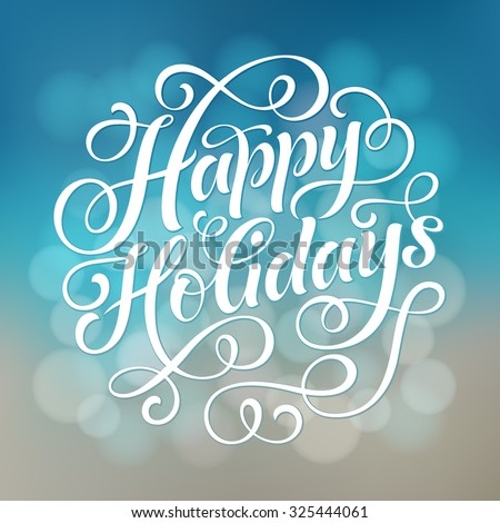 happy holidays vector text on